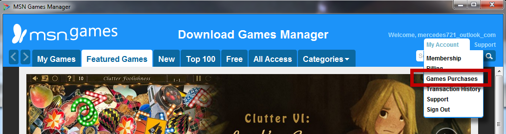 How can I reinstall an MSN Download Game from my purchase